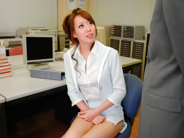 Stunning, sexy and long legged secretary teased, fondled and fucked from behind in the office