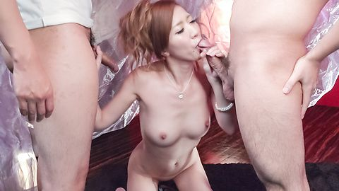Sexy babe with superb Asian tits, made to swallow big time