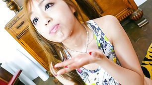 Anri Hoshizaki keeps her mouth busy with two blowjobs