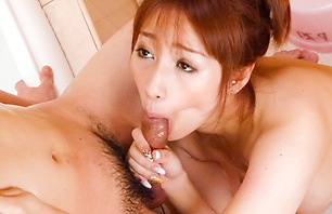 Busty Tiara Ayase gives blowjob in...