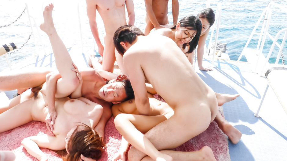 Rough Asian gangbang along some horny Japanese girls