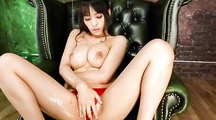 Sweet solo masturbation along top Asian lingerie model