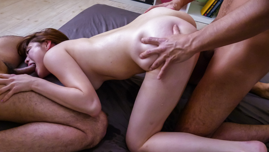 Rough group sex action with Maki Sarada