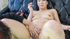 Konoha gives an asian blowjob to two horny guys