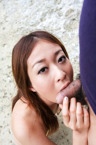 Japanese blowjob in outdoor with young Risa Misaki  Photo 10