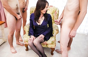 Stacked MILF Miyama Ranko Sucks Dicks Off In A Group