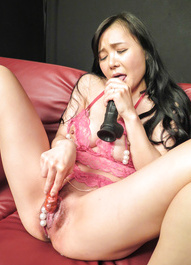 Miu Watanabe gets cum in mouth and uses sex toys till squirts