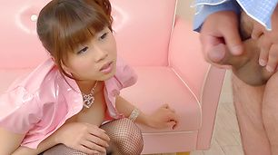 Hottie In Stockings Ririka Suzuki Masturbates And Sucks Dick