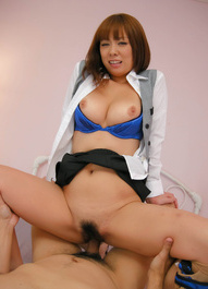 Asuka Asian chick in office suit has stockings ripped for fuck