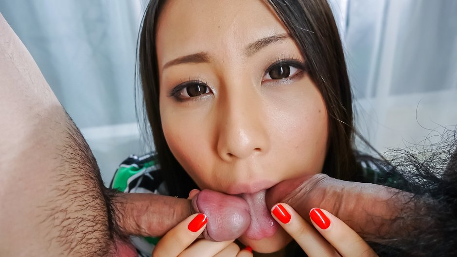 Ren Azumi has japanese blowjobs for every guy here