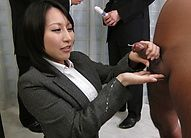 Yuuna Hoshisaki gives handjob at job and gets cum on office suit