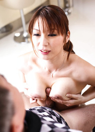Hitomi Araki Asian has nipples pressed with chopsticks and sucked