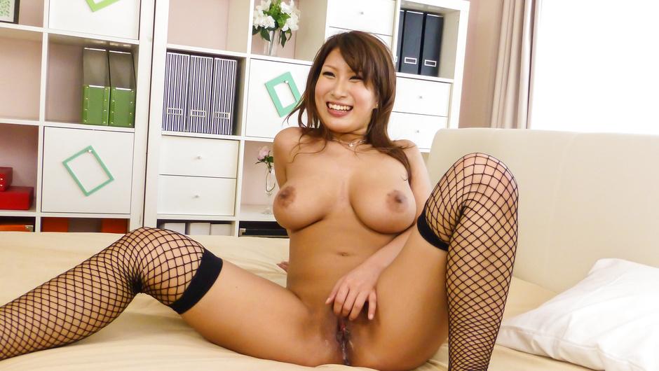 Milf in Japanese stockings, hardcore sex in three