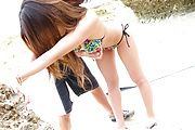 Gorgeous japanese banging her cunt in outdoor session  Photo 1