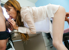 Mai Shirosaki on her knees to give a japanese blowjob