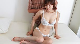 Cute lingerie comes off of Kaede Kyomoto to fuck