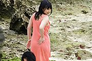 Curvy Megumi Haruka Banged By Two Outdoors Photo 1
