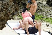 Threesome group sex with Megumi Haruka outdoors Photo 6