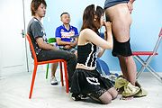 Maid teen Miku Airi on her knees for a japanese blowjob Photo 10