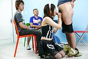 Maid teen Miku Airi on her knees for a japanese blowjob Photo 11