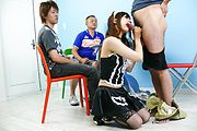 Maid teen Miku Airi on her knees for a japanese blowjob Photo 8