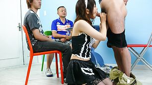 Hot maid Miku Airi gives an asian blowjob to three guys