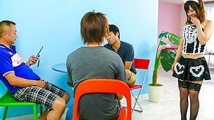 Hot maid Miku Airi gives an asian blowjob to three guys