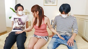 Hina Misaki gives japanese blowjobs in a threesome