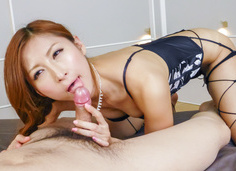 Reira Aisaki gives a POV japanese blow job to two guys