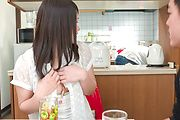Asian blowjob in the kitchen with Sanae Akino Photo 11