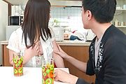 Asian blowjob in the kitchen with Sanae Akino Photo 12