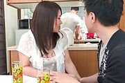 Asian blowjob in the kitchen with Sanae Akino Photo 1