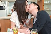 Asian blowjob in the kitchen with Sanae Akino Photo 4