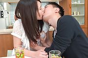 Asian blowjob in the kitchen with Sanae Akino Photo 5