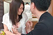 Asian blowjob in the kitchen with Sanae Akino Photo 6