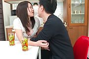 Asian blowjob in the kitchen with Sanae Akino Photo 7