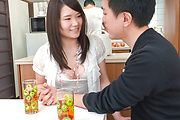 Asian blowjob in the kitchen with Sanae Akino Photo 9