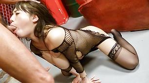 Azusa Nagasawa fucked hard in stockings after an asian blowjob