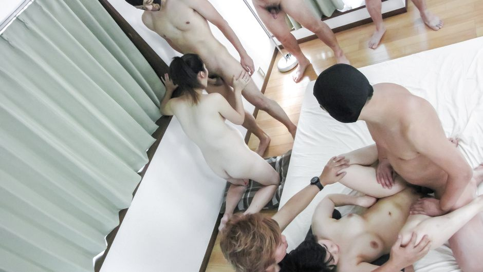 Ai Nashi and her friend DPed in asian group sex