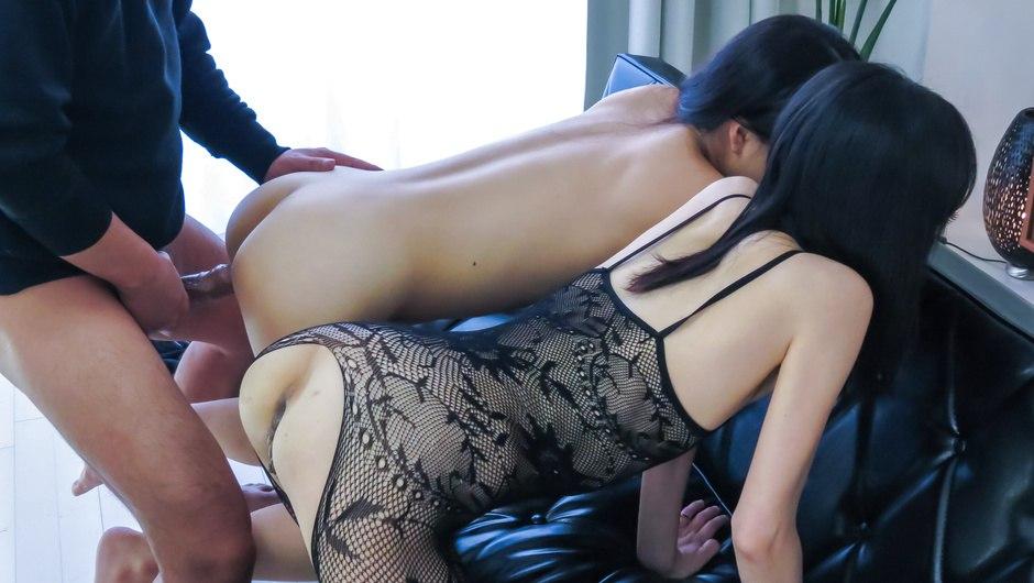 Asian gang bang with sweet Saya Fujimoto