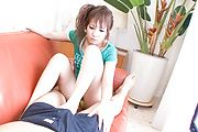 Mirai gives a great footjob and blowjob in japanese POV Photo 1