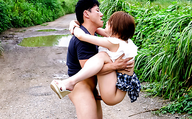 Asian schoolgirl fucked and made to swallow in outdoor