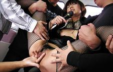 Misato Kuninaka in fishnet stockings in a subway fucking asian pussy, asian tits, japanese tits