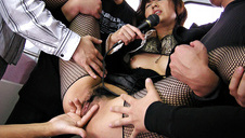 Misato Kuninaka in fishnet stockings in a subway fucking