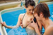 Hottie gets jizz on her hairy Asian pussy  Photo 6