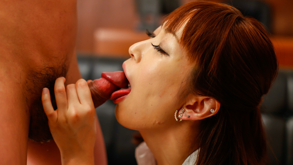 Asian blowjob with Nonoka Kaede in threesome