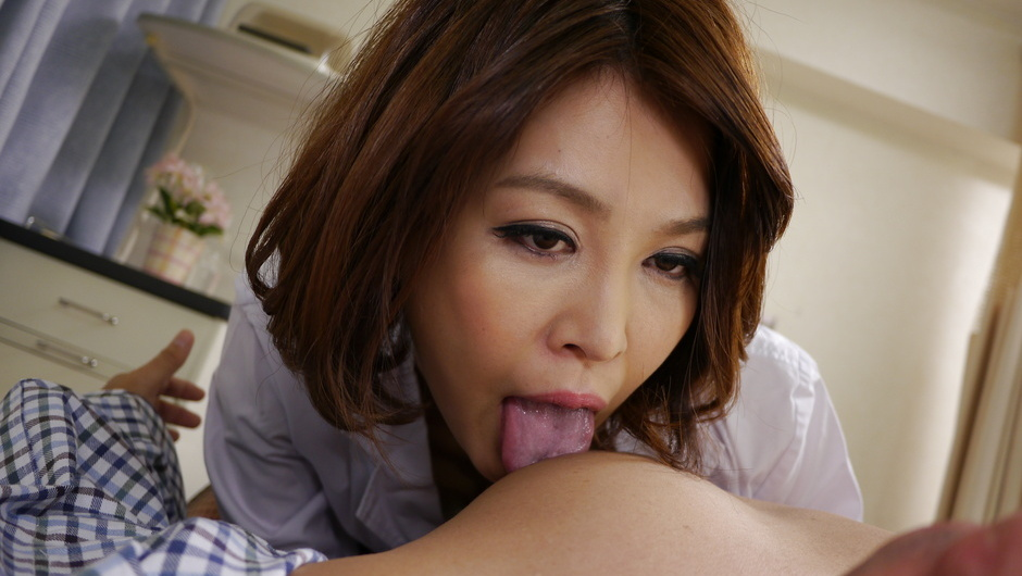Hot Asian milf, Erika Nishino, stroking a hard dick