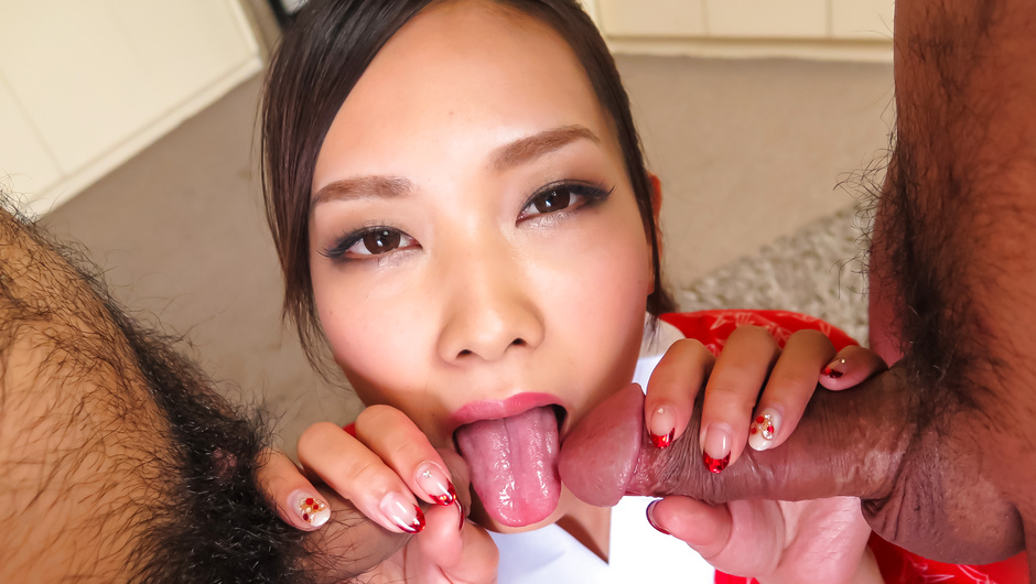 Asian milf sucks cock and swallows from two sides