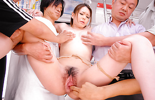 Shameless and filthy Asian porn star China Mimura making out and fucked in a public place.