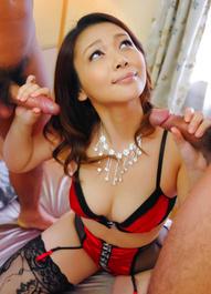 Minako Uchida Asian with nude cans has pussy fucked by hard dicks